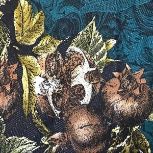 Vintage Pomegranate Leaves Scarf Green Brown